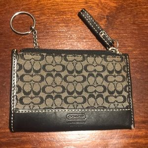 Mini signature Coach wallet keychain